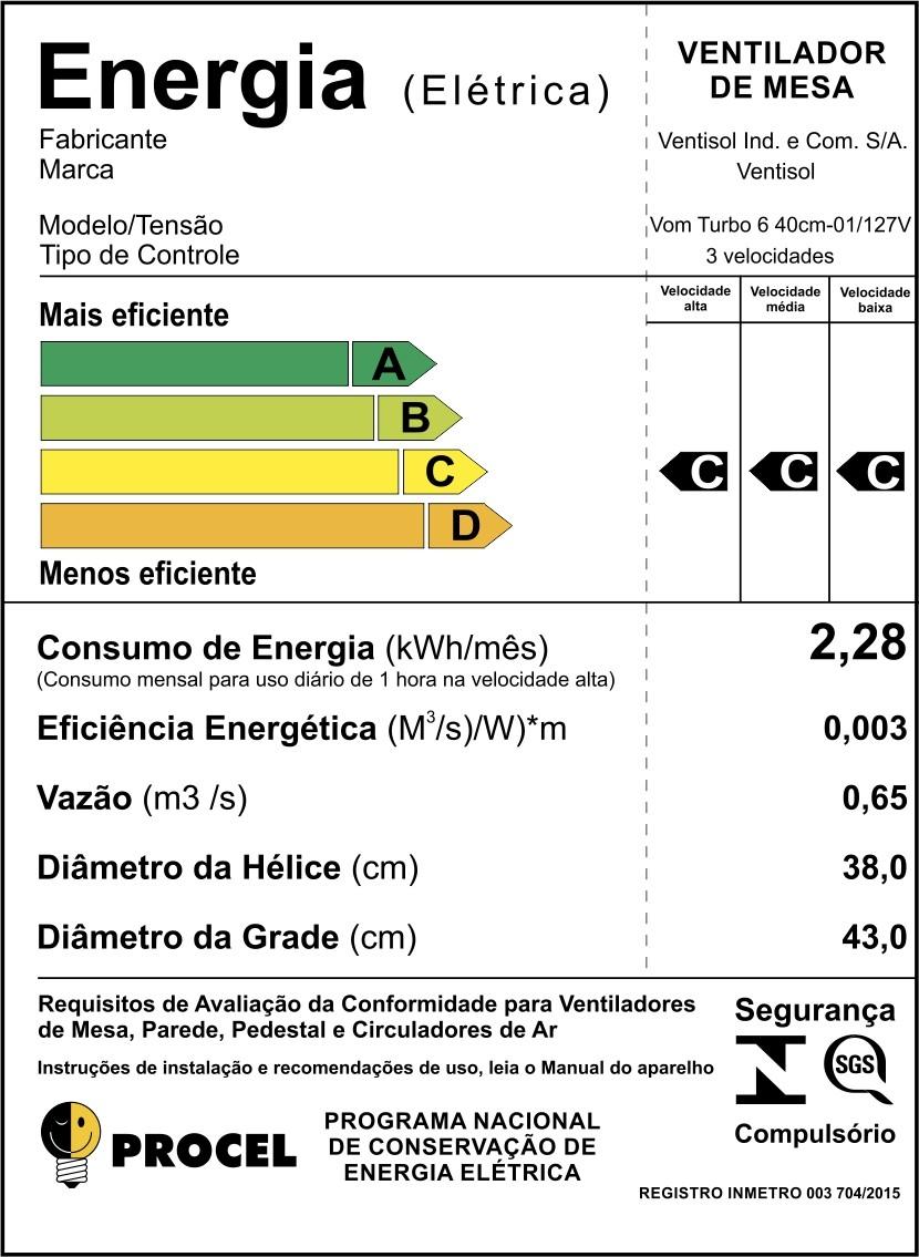 Ventilador de Mesa Turbo 6 40 cm Ventisol
