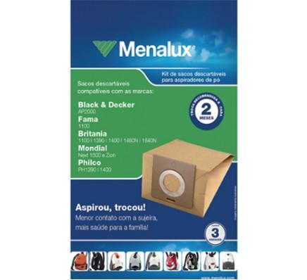 Sacos Descartáveis para Aspirador de Pó Menalux - Black & Decker, Fama, Britania, Mondial e Philco